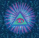 All seeing eye inside triangle pyramid. Royalty Free Stock Images