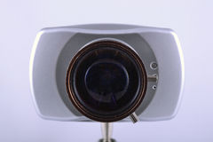 All-seeing eye of IP video camera. All-seeing eye objective of IP video camera royalty free stock photos