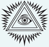 All seeing eye. Isolated on blue background royalty free illustration