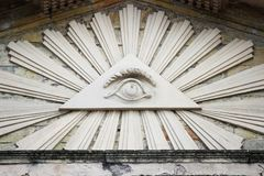 The All Seeing Eye. Masonic representation of Osiris. Triangle and the eye which is associated with the Illuminati. Lutheran churc. H in the town of Gatchina stock images
