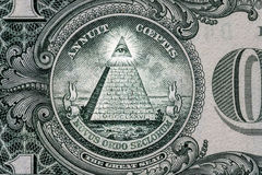 All-seeing eye. Masonic sign. Mason symbol. 1 one dollar. All-seeing eye on the one dollar. New world order. elite characters. 1 dollar stock photos
