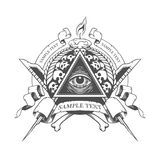 All seeing eye. Mystic occult esoteric. All seeing eye in vector. Mystic occult esoteric Stock Photo
