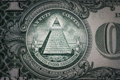 All-seeing eye on the one dollar. New world order. elite characters. 1 dollar.  Stock Photo