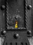 All seeing eye is peeking from the keylock. It is the symbol of freemasons royalty free stock images