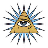 All Seeing Eye of Providence. The freemason symbol of the all seeing eye of Providence Stock Images