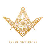 All-seeing eye of providence. Masonic square and compass symbols. Freemasonry pyramid engraving logo, emblem. Royalty Free Stock Image