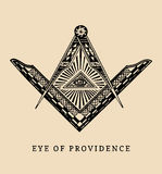 All-seeing eye of providence. Masonic square and compass symbols. Freemasonry pyramid engraving logo, emblem. Royalty Free Stock Photos