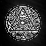 All seeing eye pyramid symbol design on chalkboard Stock Photo