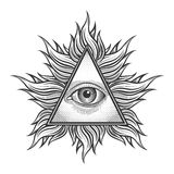 All seeing eye pyramid symbol in the engraving. Tattoo style. Freemason and spiritual, illuminati and religion, triangle magic, vector illustration Stock Photo