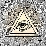 All seeing eye pyramid symbol. Hand-drawn Eye of Providence. Alchemy, religion, spirituality, tattoo art. Vector illustration. All seeing eye pyramid symbol Stock Photos