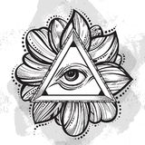 All seeing eye pyramid symbol. Hand-drawn Eye of Providence. Alchemy, religion, spirituality, tattoo art. Vector illustration. Lotus flower around Stock Photo