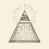 All seeing eye pyramid symbol. New World Order. Hand drawn sketch vector Stock Photo