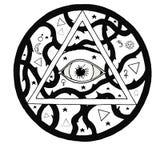 All seeing eye pyramid symbol in tattoo engraving design Royalty Free Stock Photo