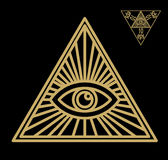 All-seeing eye, or radiant delta - Masonic symbol, symbolizing the Great Architect of the Universe,. Watching the works of Freemasons Depicted as the eye stock illustration