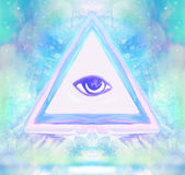 All seeing eye. Raster illustration Stock Photo