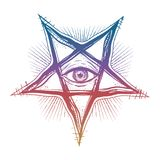 All seeing eye in reverse pentagram symbol. Vision of witchcraft. Alchemy, religion, spirituality, occultism, tattoo art. Isolated vector illustration Stock Photos