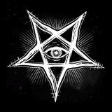 All seeing eye in reverse pentagram symbol. Vision of witchcraft. Alchemy, religion, spirituality, occultism, tattoo art. Isolated vector illustration Royalty Free Stock Photography