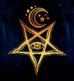 All seeing eye in reverse pentagram symbol. Vision of witchcraft. Alchemy, religion, spirituality, occultism, tattoo art. Isolated vector illustration Royalty Free Stock Images