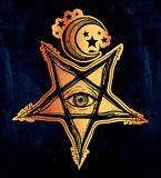 All seeing eye in reverse pentagram symbol. Vision of witchcraft. Alchemy, religion, spirituality, occultism, tattoo art.  vector illustration. Conspiracy Stock Image