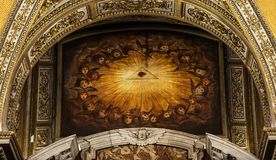All Seeing Eye . Rome , Italy - September 1, 2017: All-seeing eye on the ceiling of an in the Catholic Church of Maria Maggiore of Rome royalty free stock images