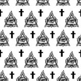 All seeing eye seamless pattern. Royalty Free Stock Photography