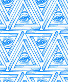 All seeing eye seamless pattern. Royalty Free Stock Image