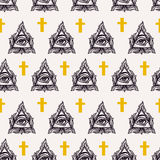 All seeing eye seamless pattern. Stock Photography