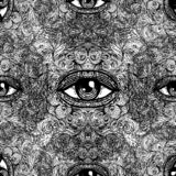 All seeing eye seamless pattern. Hand drawn vintage style background. Alchemy, spirituality, occultism, textiles art. Isolated. Vector illustration. Conspiracy stock illustration