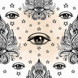 All seeing eye seamless pattern. Hand drawn vintage style background. Alchemy, spirituality, occultism, textiles art. Isolated. Vector illustration. Conspiracy vector illustration