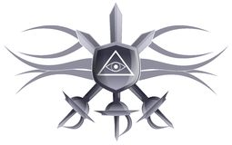 All seeing eye on shield with swords. Illustration representing the all seeing eye on a shield with three swords. An idea for decorations or tattoos Stock Photos