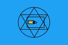 All-seeing eye in the SIM card vector illustration