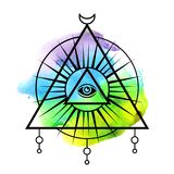 All-seeing eye symbol. Sacred geometry, third eye. Tattoo mystic design. Abstract watercolor on white background Royalty Free Stock Photo