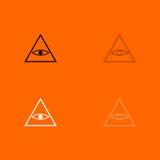 All seeing eye symbol   black and white set icon . Stock Photos