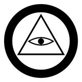 All seeing eye symbol icon black color in circle or round. Vector illustration Stock Photo