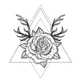 All seeing eye symbol over rose flower and deer antlers. Sacred Stock Image