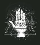 All Seeing Eye Triangle Geometric Vector Design. Providance Pyramid Tattoo Symbol with Occult Secret Hand Sign. Mystic. Spiritual Illuminati Emblem Sketch vector illustration