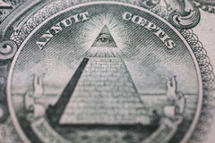 All-seeing eye, truncated pyramid closeup Stock Image