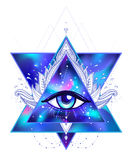 All seeing eye. Vector bright colorful cosmos illustration. Cosmic background with stars. Hand-drawn Eye of Providence. vector illustration