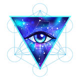 All seeing eye. Vector bright colorful cosmos illustration. Cosm. Vector bright colorful cosmos illustration. Abstract cosmic background with stars. Hand-drawn Stock Images