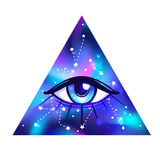 All seeing eye. Vector bright colorful cosmos illustration. Cosm. Vector bright colorful cosmos illustration. Abstract cosmic background with stars. Hand-drawn Stock Photography