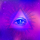 All seeing eye. Vector bright colorful cosmos illustration. Cosm Stock Photography