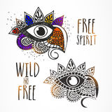 All seeing eyes in Boho style. Stock Photo