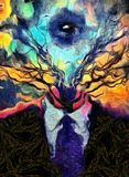 All seeing. Surreal painting. Man`s figure in a suit with tree branches and all-seeing eye instead of head Royalty Free Stock Photos