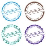 All services free badge isolated on white. All services free badge isolated on white background. Flat style round label with text. Circular emblem vector Stock Photography