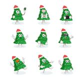 All set christmas tree Logo mascot. With flat design style for your logo or mascot branding Royalty Free Stock Photos