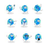 All set Earth mascot and background. With flat design style for your mascot branding vector illustration
