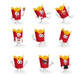 All set Fried fries mascot and background. With flat design style for your mascot branding Royalty Free Stock Images