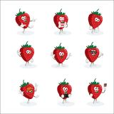 All set Strawberry Logo mascot. With flat design style for your logo or mascot branding Stock Photos