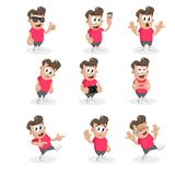 All set Teen mascot and background. With flat design style for your mascot branding Stock Image