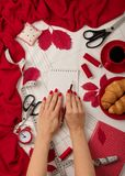 All for sewing - fabric, patterns and sewing accessories. Fashio Stock Photo